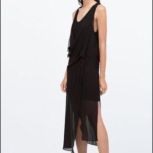 Zara Black Sleeveless Draped Dress SZ XS